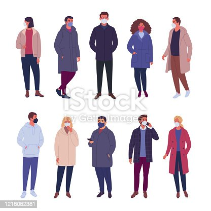 Vector illustration of multiethnic group of people wearing demi-season clothes and different types of protective medical masks. Isolated on white