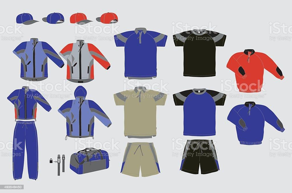 Outerwear set design vector art illustration