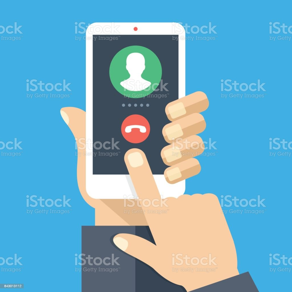 Outgoing call. White smartphone with call screen. Waiting for answer concept. Human hand holding cellphone, finger touching screen. Modern flat design vector illustration vector art illustration