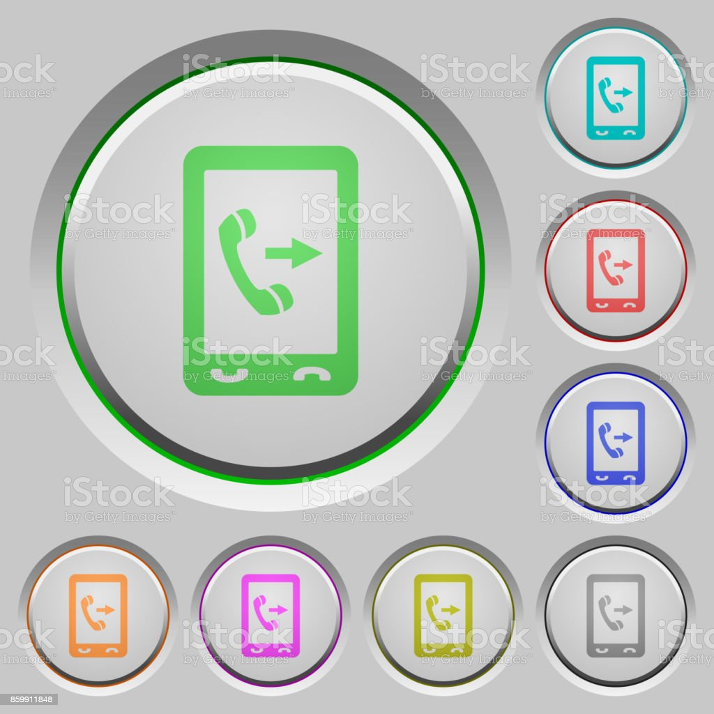 Outgoing mobile call push buttons vector art illustration