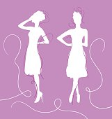 Outine of two female silhouettes