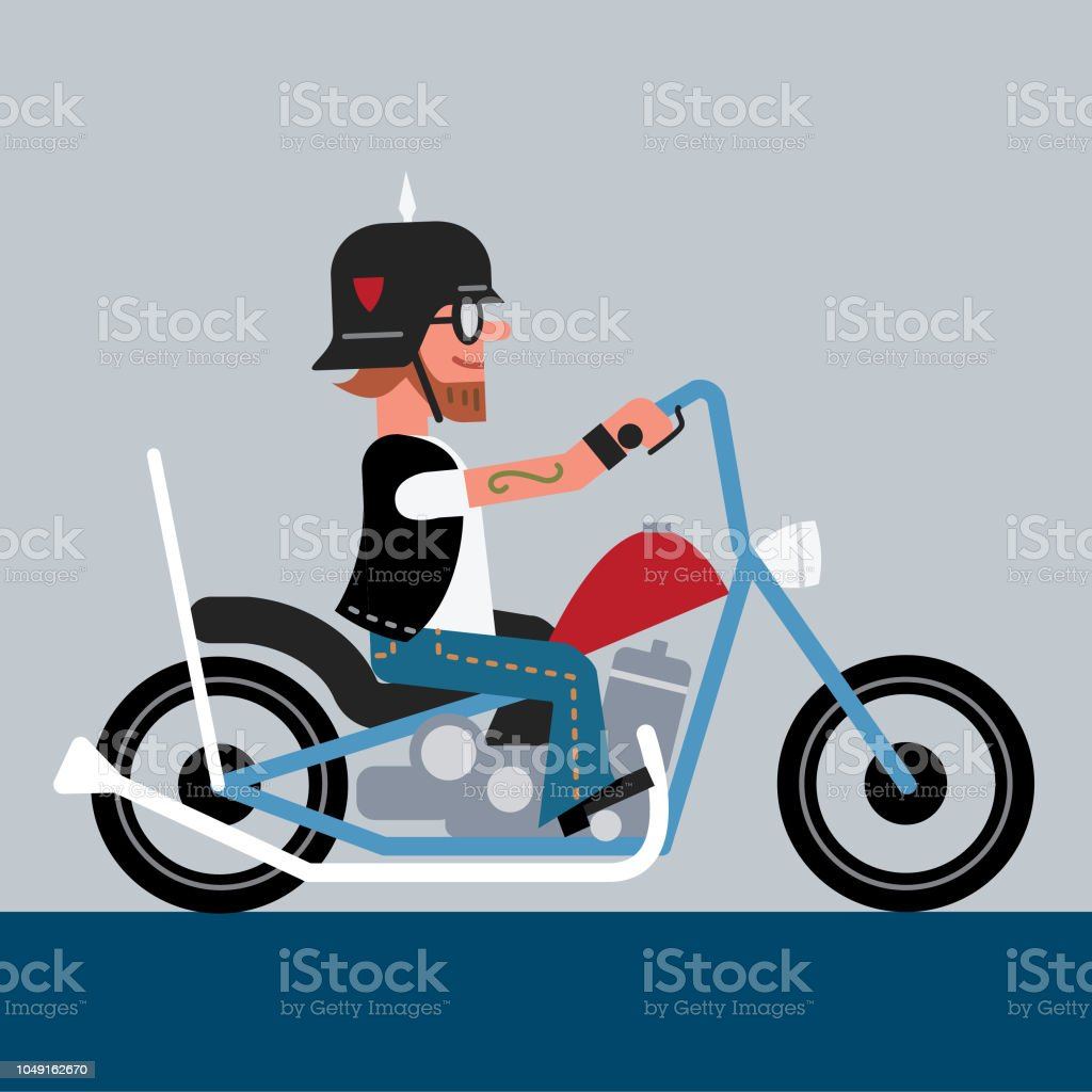 Outlaw biker vector art illustration