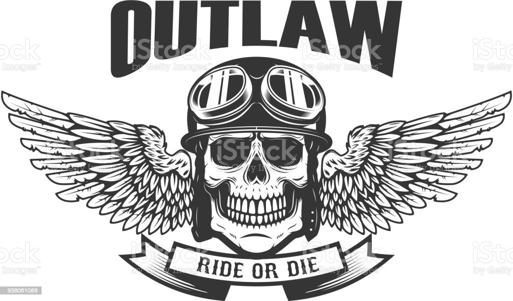 Outlaw. Ghetto warrior. Skull with wings and brass knuckles. Design element for label, emblem, sign, badge. vector art illustration