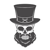 Outlaw skull with beard and high hat portrait vector. Crossbones