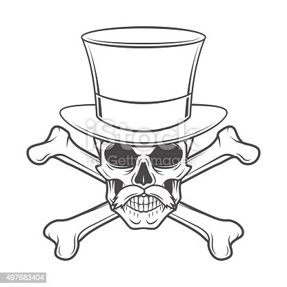 Outlaw skull with mustache, high hat and crossbones portrait. Crossbones head hunter template. Steampunk rover t-shirt insignia design.