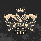 Outlaw. Two revolvers on grunge background.