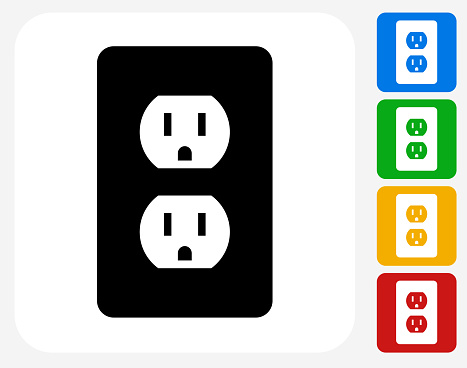 Outlet Icon. This 100% royalty free vector illustration features the main icon pictured in black inside a white square. The alternative color options in blue, green, yellow and red are on the right of the icon and are arranged in a vertical column.