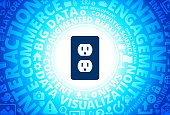 Outlet Icon on Internet Modern Technology Words Background. This blue vector background features the main icon in the center of the image. The icon is surrounded by a set of conceptual words and technology and internet icons. The icon is highlighted by a strong starburst glow effect and stands out from the rest of the image. The technology terminology is arranged in a circular manner. The predominant tone of the image is blue with a circular gradient that originates from the center of the composition.