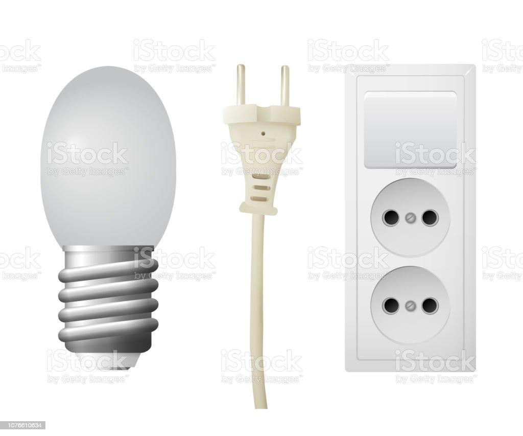 Outlet with plug, LED lightbulb. vector art illustration