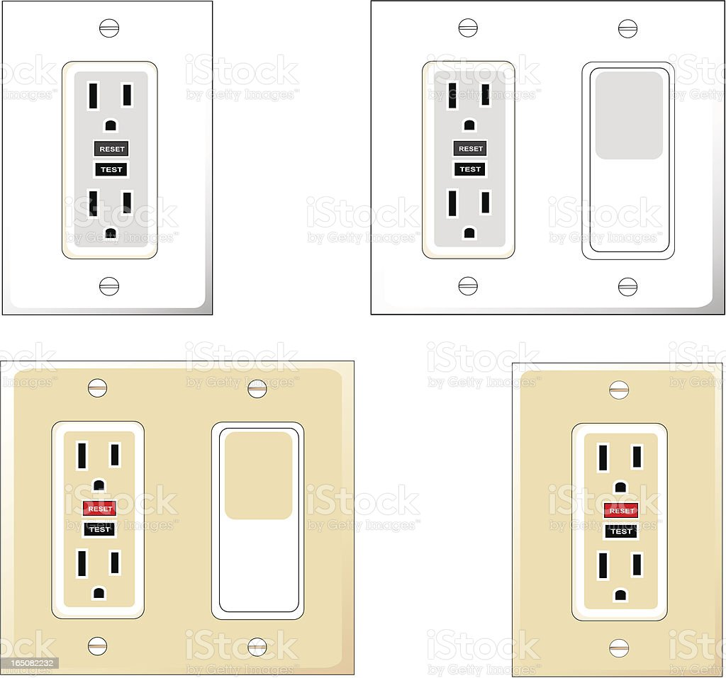 Gfci Outlets With Wall Switch Stock Vector Art & More Images of ...