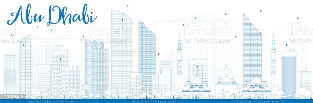 Outline Abu Dhabi City Skyline with Blue Buildings. vector art illustration