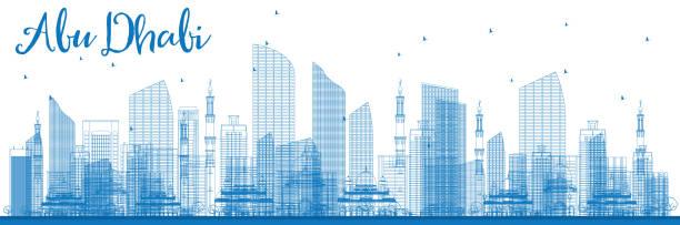 zarys abu dhabi miasto z niebieskiego budynków. - abu dhabi stock illustrations