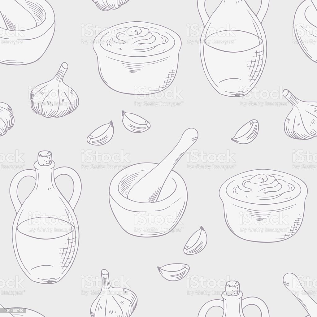Outline aioli sauce seamless pattern background vector art illustration