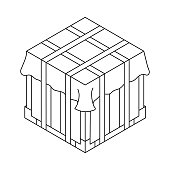Outline air drop box from the game PlayerUnknowns Battlegrounds. PUBG. Isometric container. Battle royal concept. Clean and modern vector illustration for design, web.
