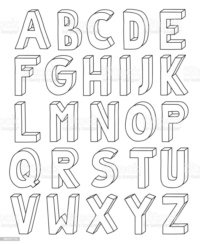3d outline alphabet from letter a to z in a4 sheet stock vector art 3d outline alphabet from letter a to z in a4 sheet royalty free 3d outline spiritdancerdesigns Image collections