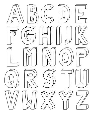 Vetores de Alfabeto De Contorno 3d De Letra À Z Em Folha