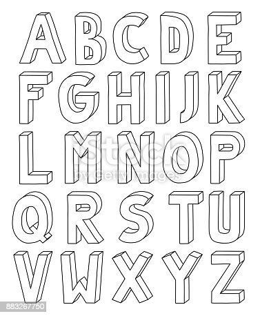 3d outline alphabet from letter a to z in a4 sheet stock vector art 3d outline alphabet from letter a to z in a4 sheet stock vector art more images of alphabet 883267750 istock spiritdancerdesigns Image collections