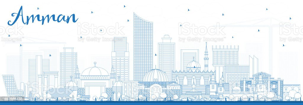 96e295ddc419 Outline Amman Jordan Skyline with Blue Buildings. royalty-free outline  amman jordan skyline with