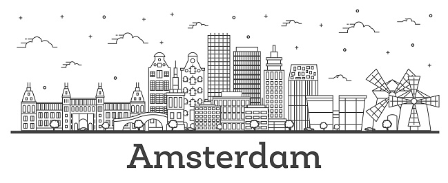 Outline Amsterdam Netherlands City Skyline with Historic Buildings Isolated on White.