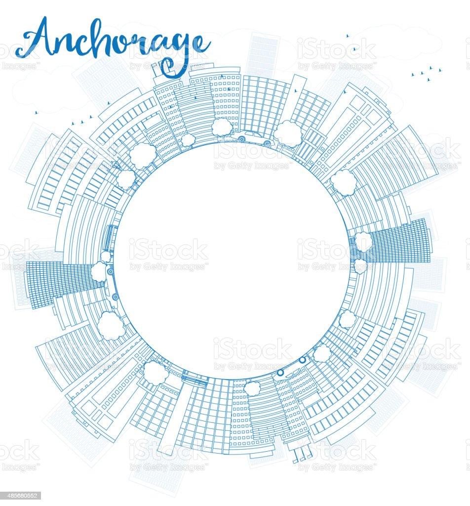 Outline Anchorage (Alaska) Skyline with Blue Buildings and copy vector art illustration