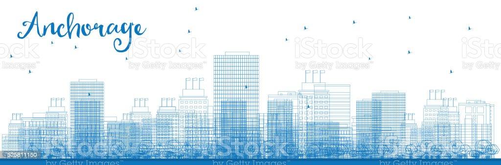 Outline Anchorage (Alaska) Skyline with Blue Buildings. vector art illustration