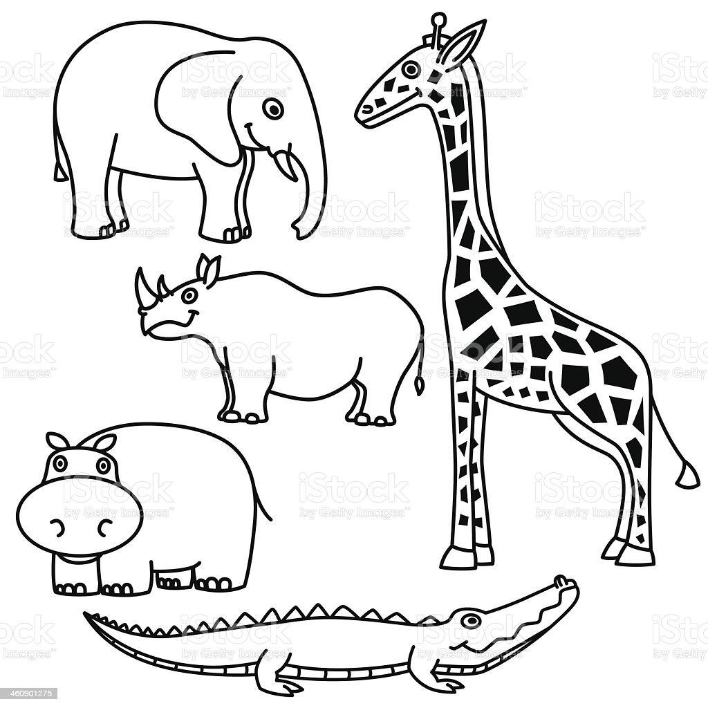 Outline Animals Set vector art illustration
