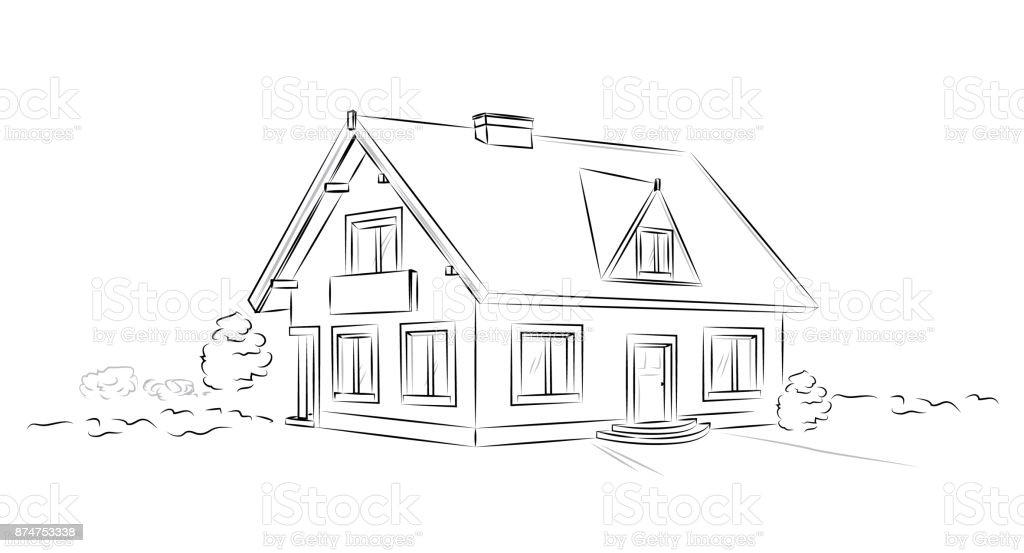 Outline architectural sketch detached tarditional house - vector concept - Grafika wektorowa royalty-free (Agent nieruchomości)