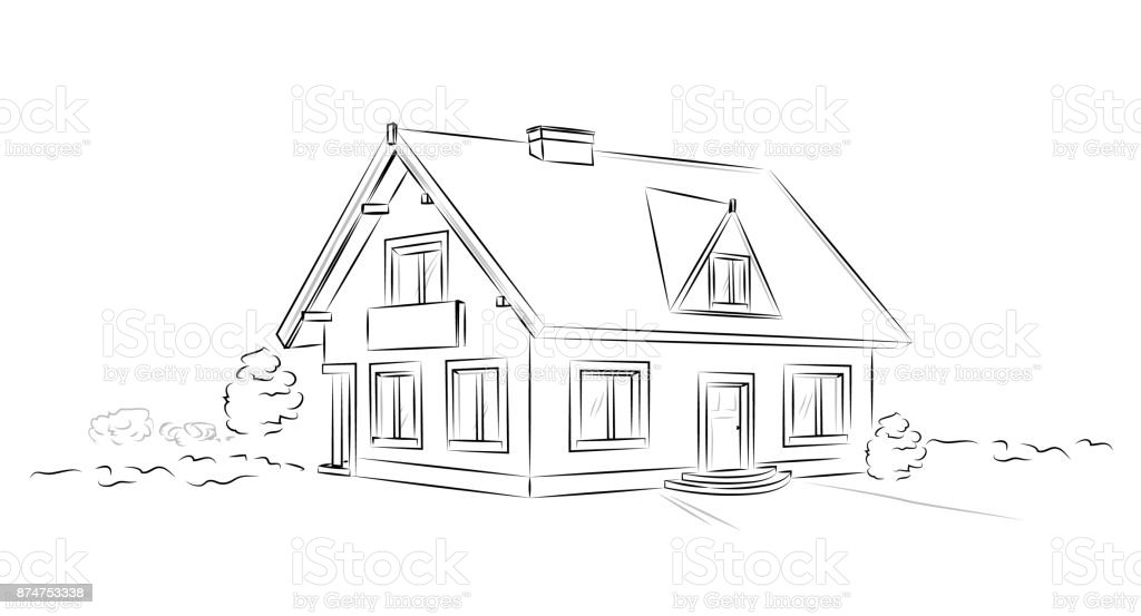 Outline architectural sketch detached tarditional house - vector concept vector art illustration