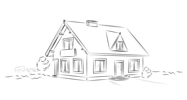 outline architectural sketch detached tarditional house - vector concept - house stock illustrations