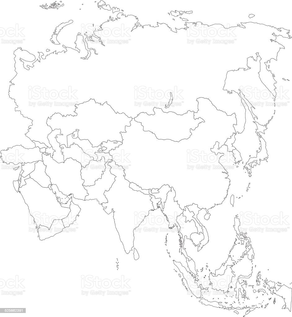 Outline Asia Map Stock Vector Art & More Images of Asia 525862391 ...
