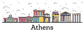 Outline Athens Greece City Skyline with Color Buildings Isolated on White. Vector Illustration. Athens Cityscape with Landmarks.