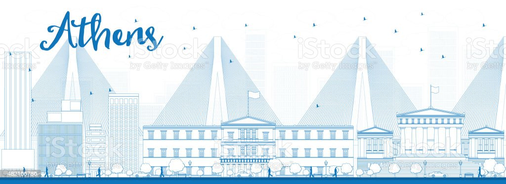 Outline Athens Skyline with Blue Buildings vector art illustration