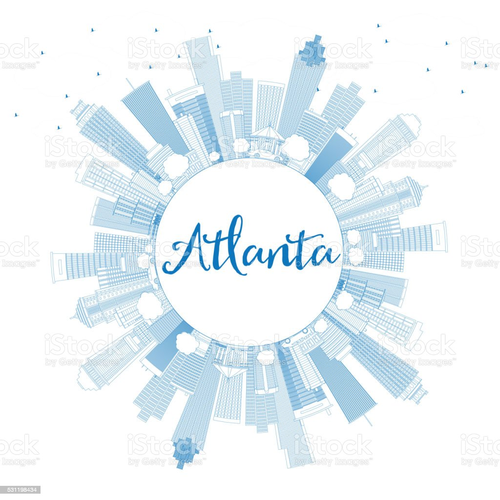Outline Atlanta Skyline with Blue Buildings and Copy Space. vector art illustration