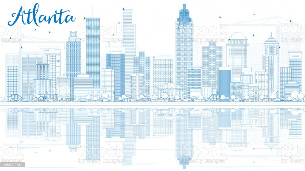 outline atlanta skyline with blue buildings and reflections stock