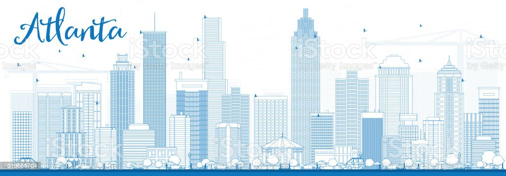 Outline Atlanta Skyline with Blue Buildings. vector art illustration