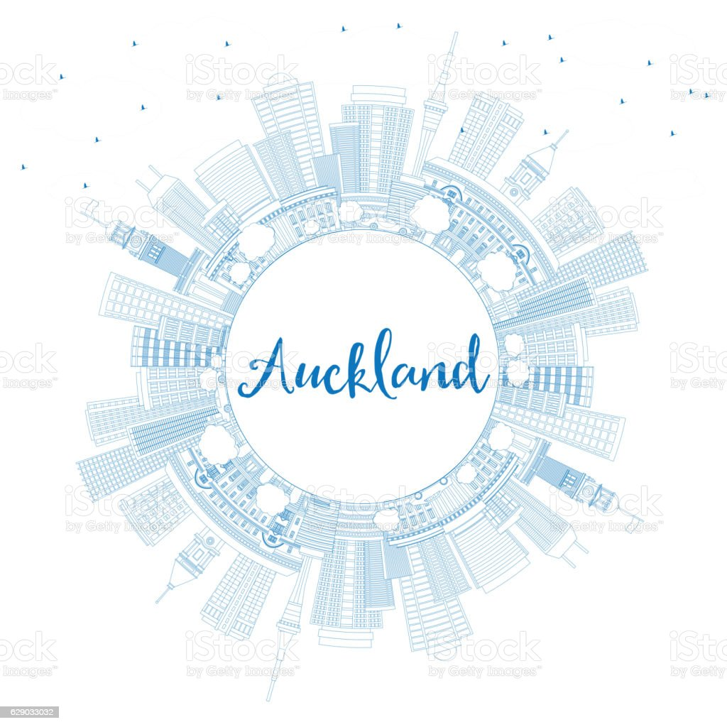 Outline Auckland Skyline with Blue Buildings and Copy Space. vector art illustration