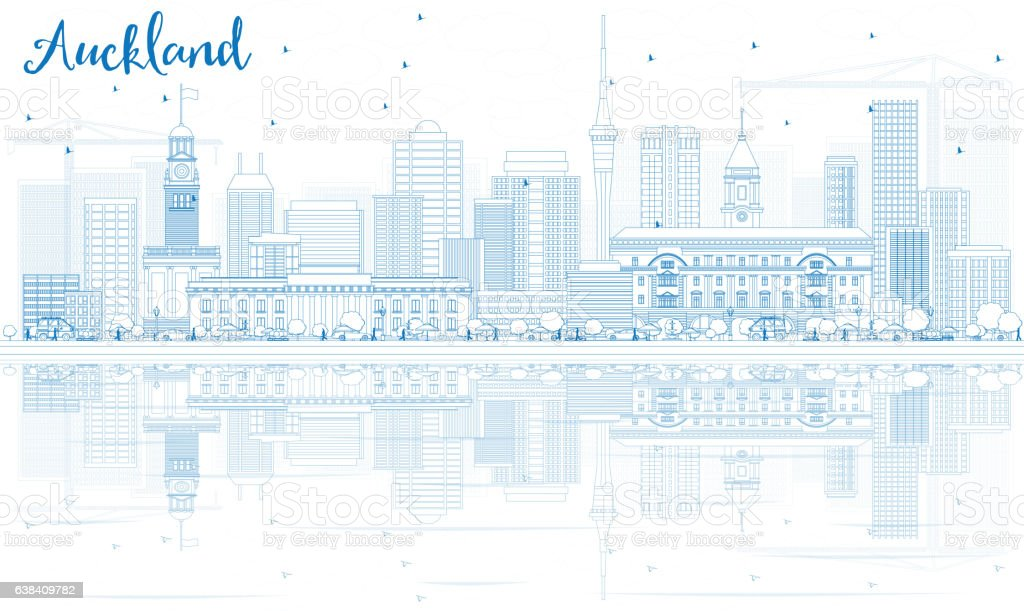 Outline Auckland Skyline with Blue Buildings and Reflections. vector art illustration