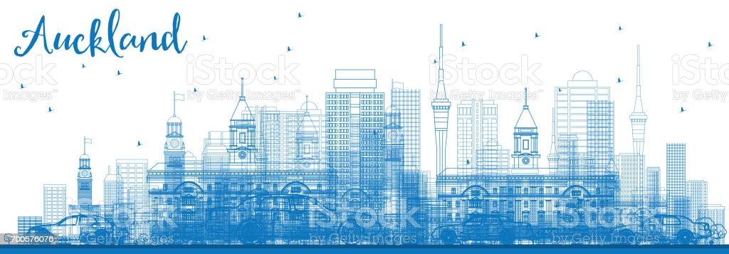 Outline Auckland Skyline with Blue Buildings. vector art illustration