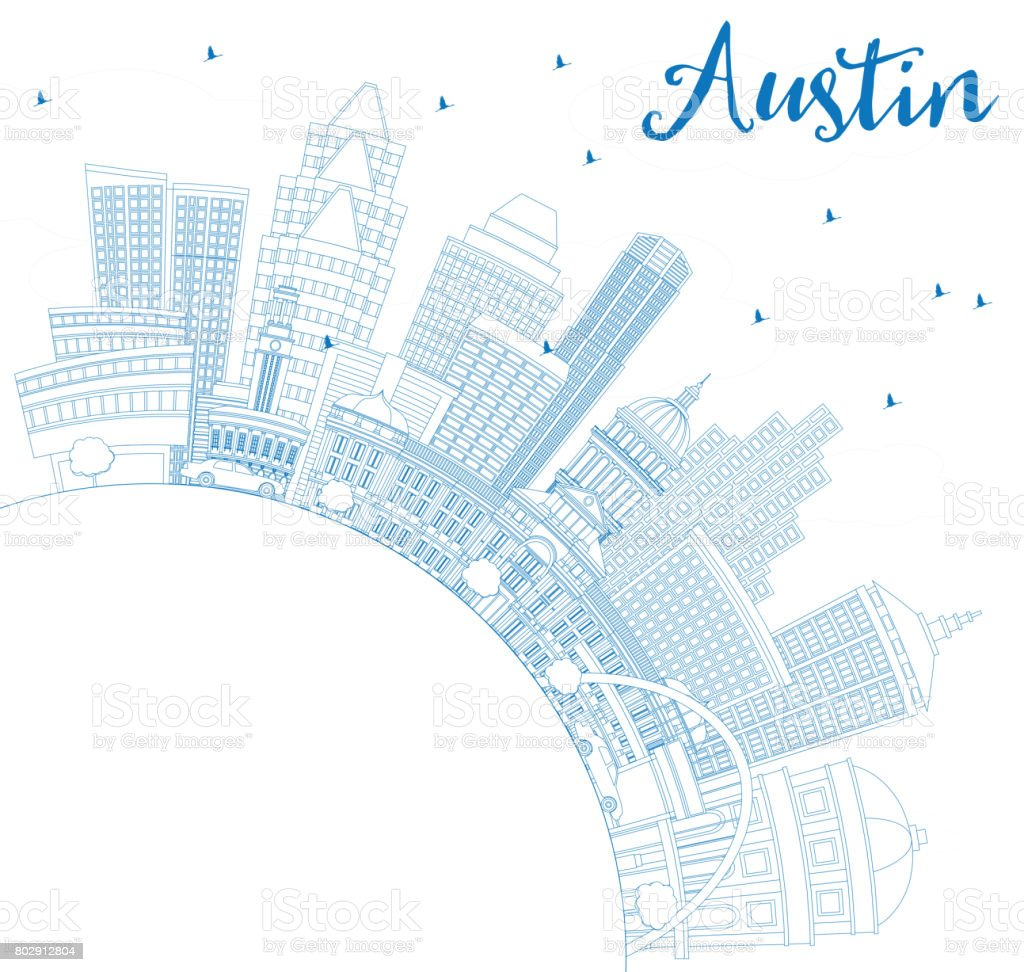 Outline Austin Skyline with Blue Buildings and Copy Space. vector art illustration