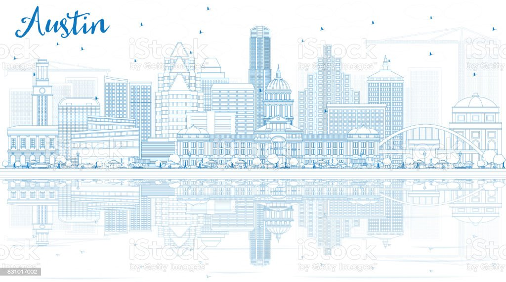 Outline Austin Skyline with Blue Buildings and Reflections. vector art illustration
