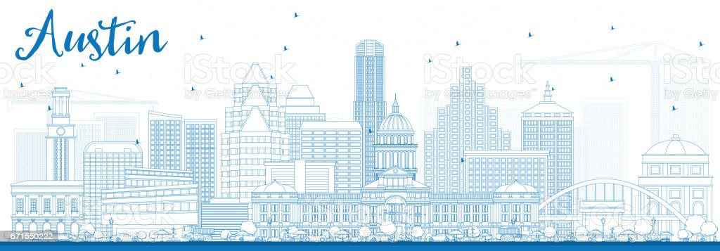 Outline Austin Skyline with Blue Buildings. vector art illustration