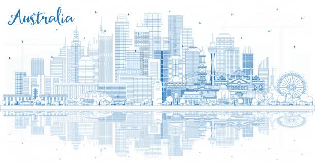 bildbanksillustrationer, clip art samt tecknat material och ikoner med skissera australien stadssilhuett med blå byggnader och reflektioner. - canberra skyline