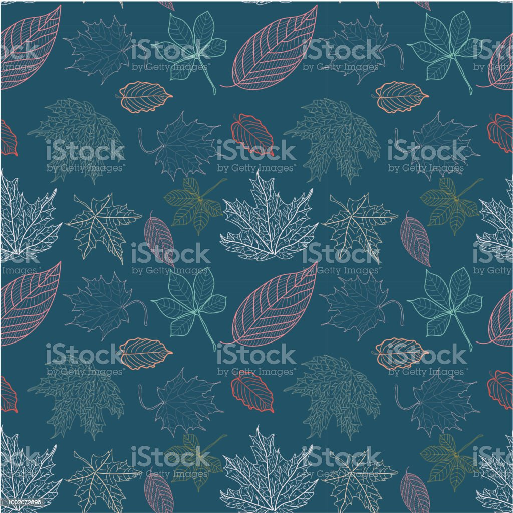 outline autumn leaves pattern on dark blue background stock vector