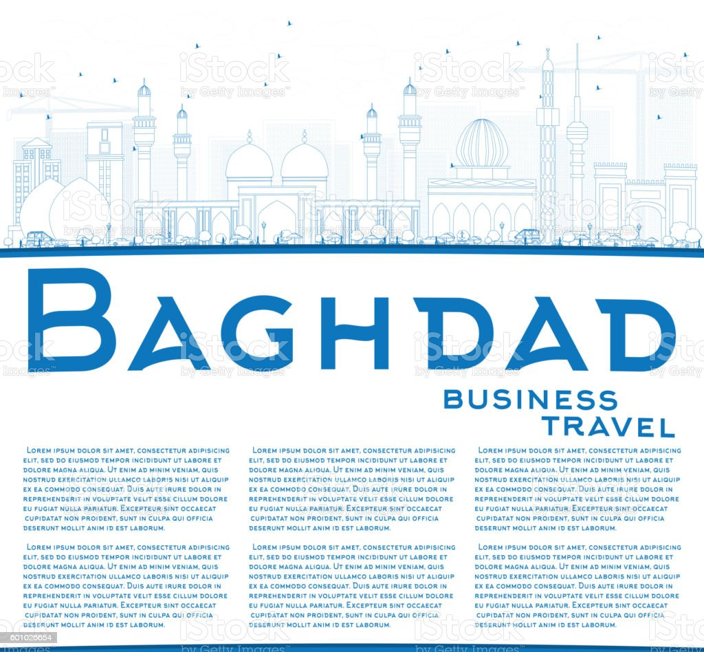 Outline Baghdad Skyline with Blue Buildings and Copy Space. vector art illustration