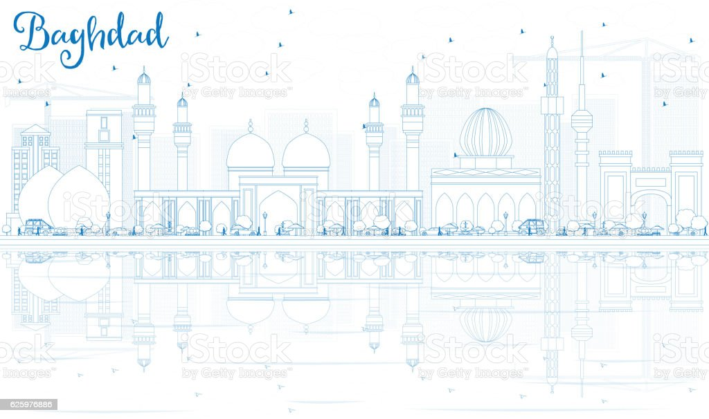 Outline Baghdad Skyline with Blue Buildings and Reflections. vector art illustration