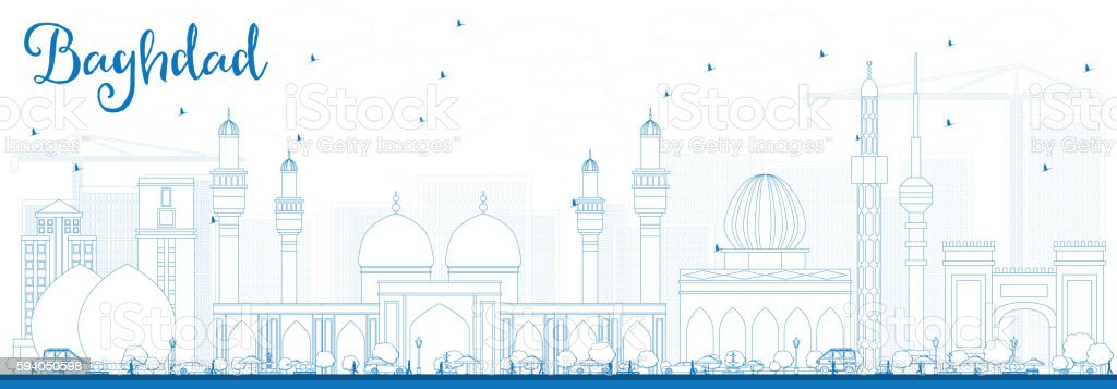 Outline Baghdad Skyline with Blue Buildings. vector art illustration