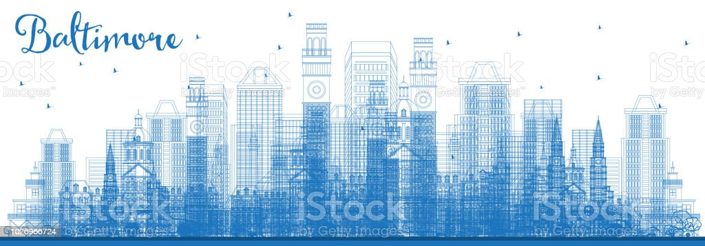 Outline Baltimore Maryland City Skyline with Blue Buildings. vector art illustration