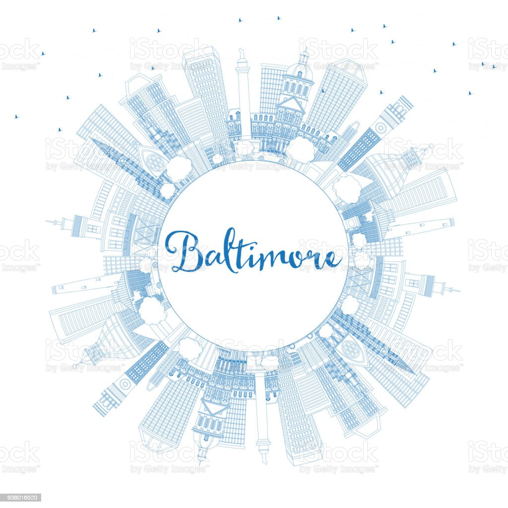 Outline Baltimore Maryland USA City Skyline with Blue Buildings and Copy Space. vector art illustration