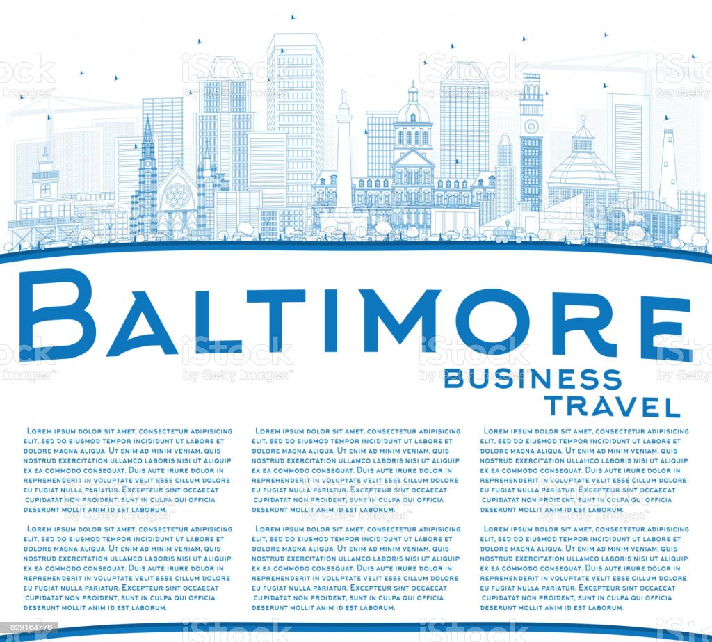 Outline Baltimore Skyline with Blue Buildings and Copy Space. vector art illustration