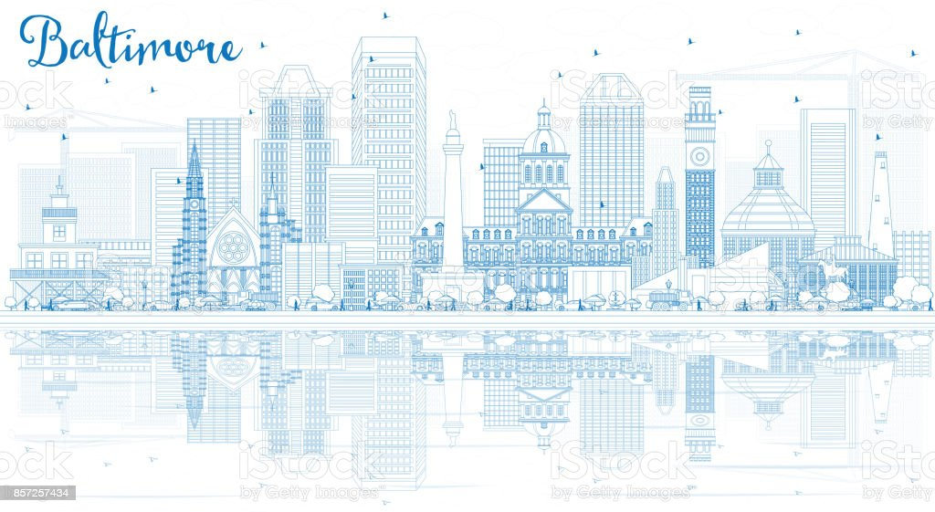 Outline Baltimore Skyline with Blue Buildings and Reflections. vector art illustration